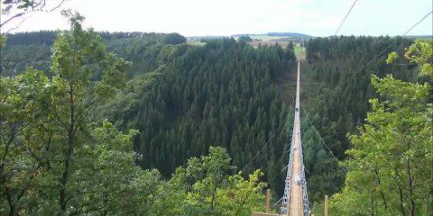 At nearly 1,200ft in length this is Germany's longest rope suspension bridge, about 300 feet above a canyon floor.