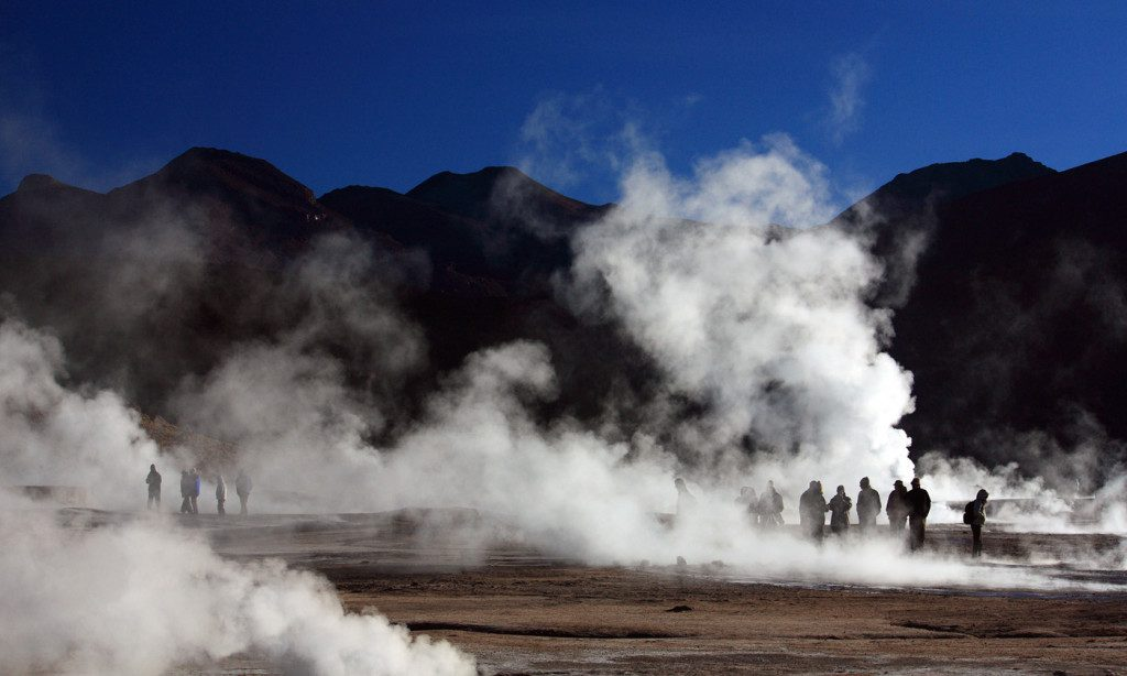 This place is a major tourist attraction, and tourists usually arrive at sunrise when each geyser is surmounted by a column of steam that condenses in the cold air.