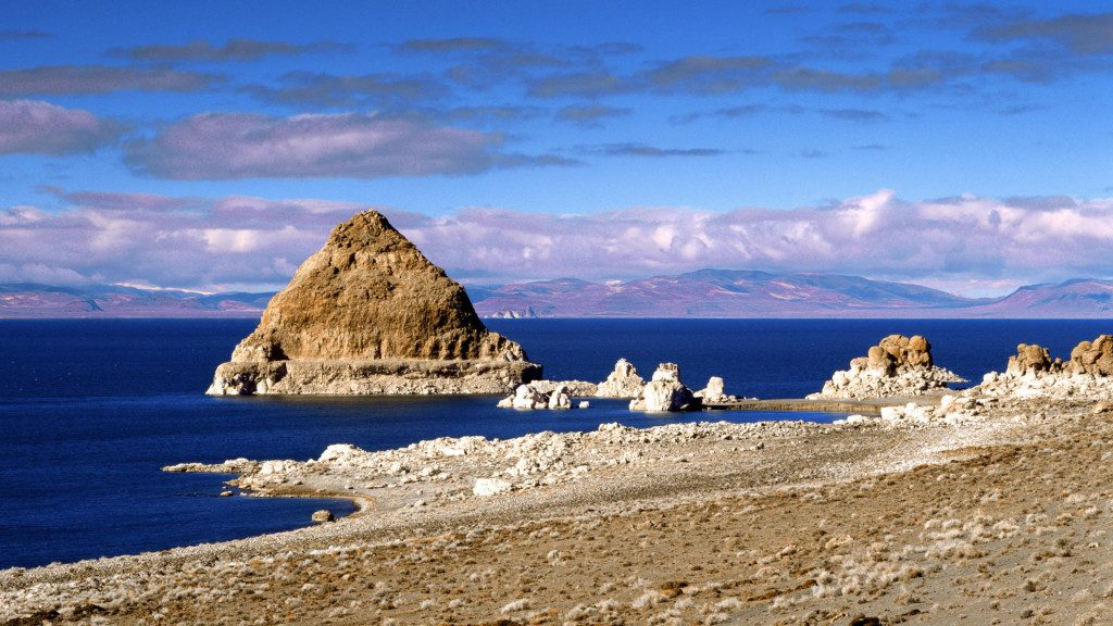 Most of Pyramid Lake's beaches are accessible only by boat because of the steep shoreline.