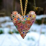 Dazzlingly Patterned Jewelry Creates from Layers of Cut Colored Pencils