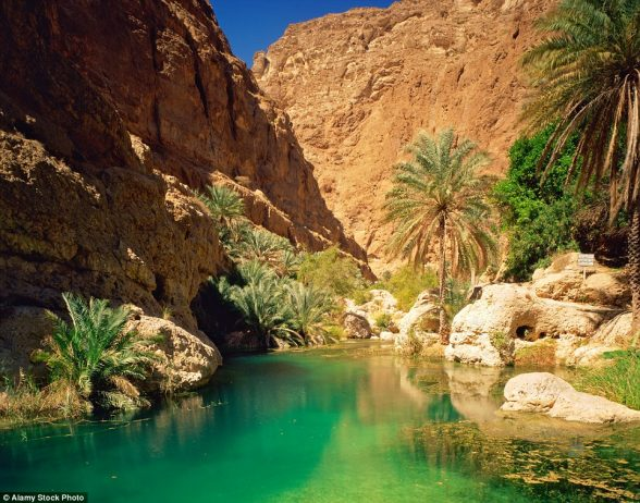 The Green Pool in Wadi Shab, which can be found among Oman's desert canyons, has its water coloured by limestone springs