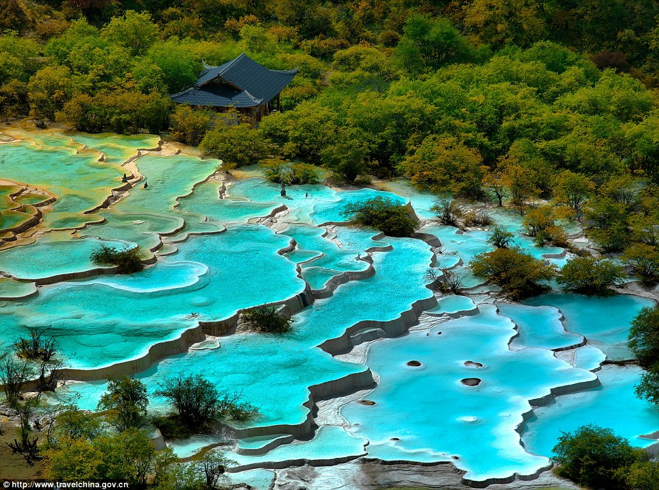 Turquoise pools The neon-coloured limestone ponds of the Huanglong valley are a visual feast for those looking for a slice of paradise.