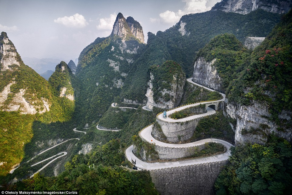 You can see why this winding driveway in Tianmen Mountain National Park is called Serpentine Road. The road took eight years to construct.