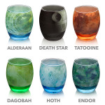 Stylish Glassware Modeled After Star Wars Planets, Moon, and Death Star