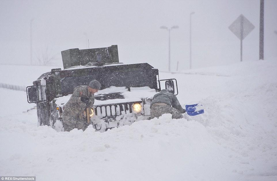 A Virginia National Guard Humvee stuck in the snow near Washington DC during the major snow blizzard of 2016, Winter Storm Jonas