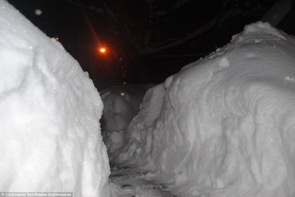 In New York Governor Andrew Cuomo declared a state of emergency and has warned citizens to stay off the streets all day today. Pictured are cars completely buried in snow