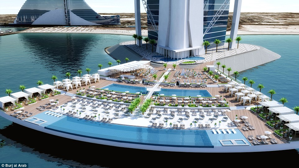 North Deck will fan out 328 feet into the ocean, providing its guests with exclusive access to 32 cabanas and 400 sun loungers along with a range of new facilities