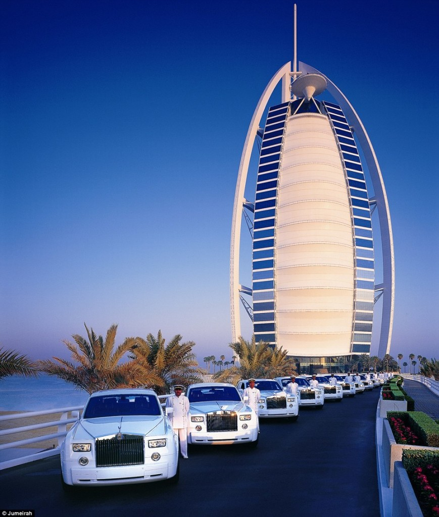Seven-star luxury For the ultimate experience, chauffeur-driven Rolls Royce's can take you from the airport to the hotel