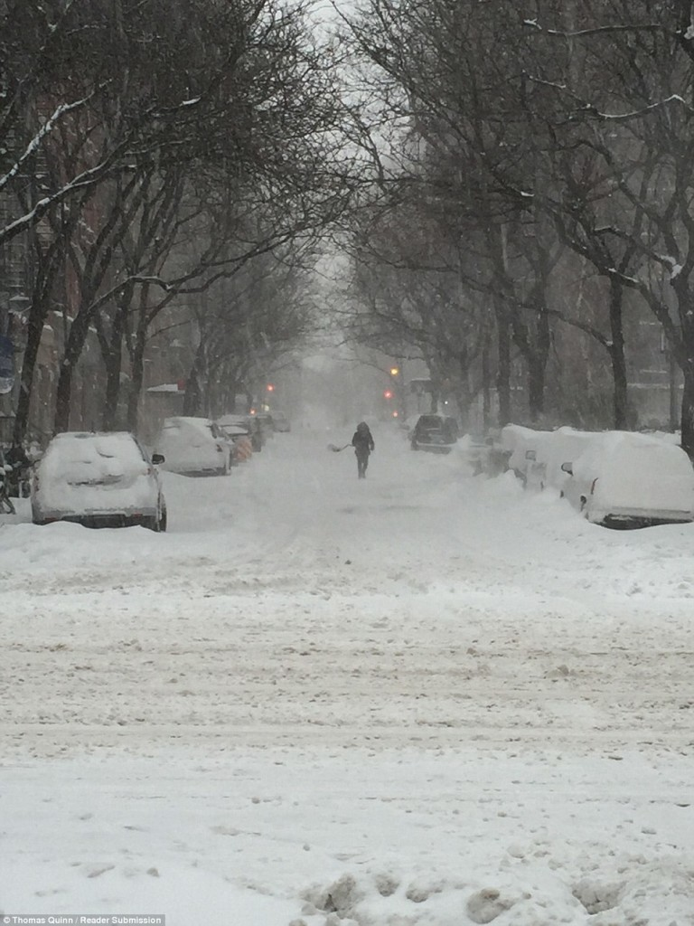 Snow fell across New York on Saturday and is due to continue overnight, bringing as much as 42 inches in the next 24 hours