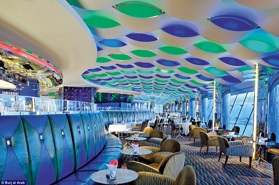 The colourful Sky View bar in the Al Muntaha boasted incredible views over the Dubai skyline, particularly impressive at night