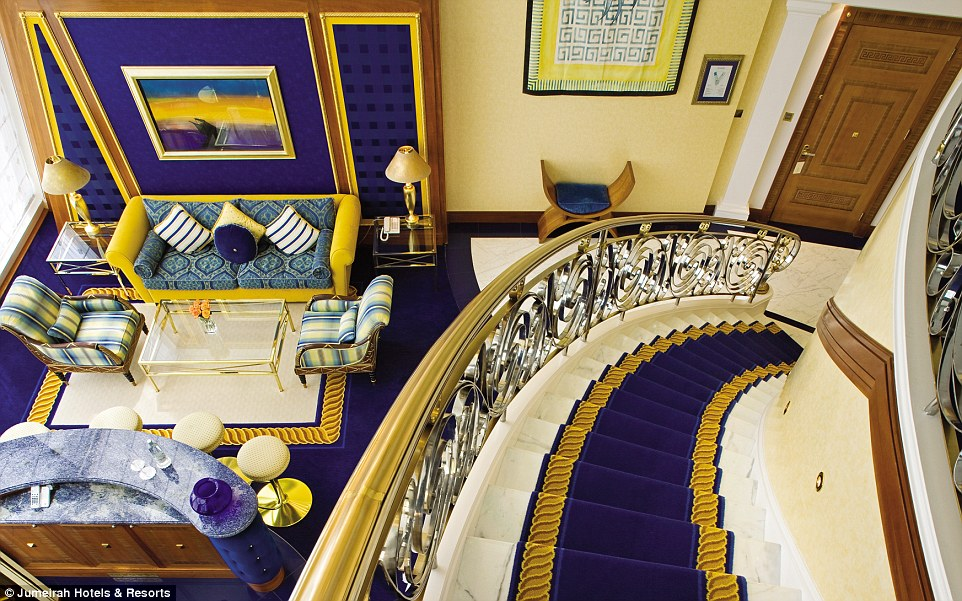 There are 202 suites in the hotel, each spanning two floors and filled with plush carpets and pristine furniture