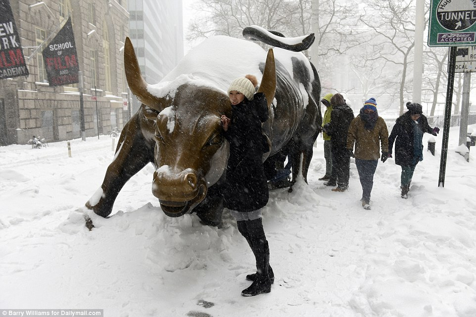 Tourists pose with the Wall Street Bull in New York City, despite the treatorous weather, as Storm Jonas battered the East Coast of America
