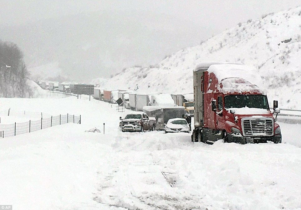 Traffic was at a standstill for hours on the Pennsylvania Turnpike yesterday stranding hundreds of motorists in the snow