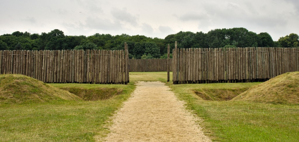 Entrance to the reconstructed Neolithic Circular Enclosure at Goseck (Saxony-Anhalt, Germany), with the bank, ditch and palisade at the forefront