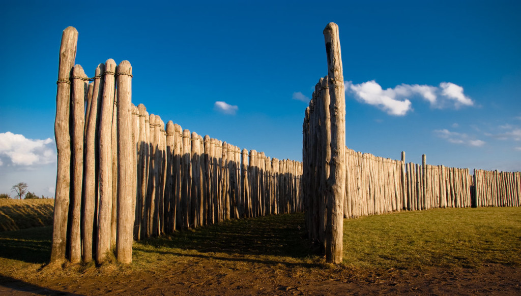 The Goseck Circle comprises a set of concentric ditches almost 75 meters across and two palisade rings containing gates in places aligned with sunrise and sunset on the solstice days.