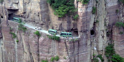 The Chinese Guoliang Tunnel is amazingly carved along the side of and through a mountain in China.