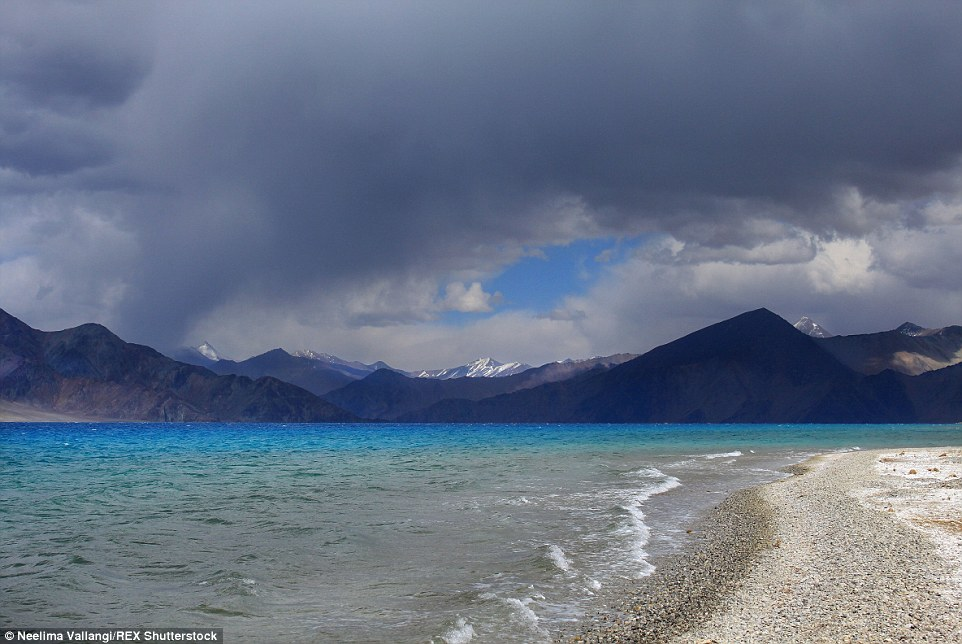 At a height of 14,100 feet, Pangong Tso, an endorheic high-altitude lake shared between India and China, has a reputation for showing all the possible shades of blue over the course of a day