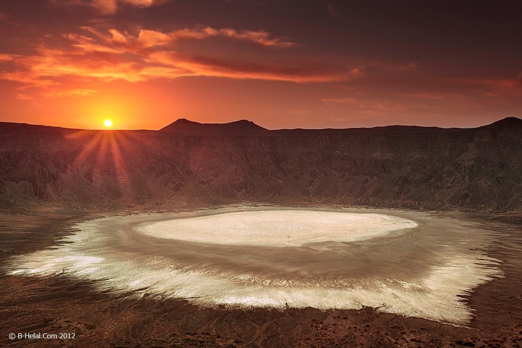 Super View of Sun Setting at Al Wahbah Crater