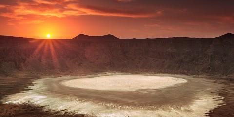 Super View of Sun Setting at Al Wahbah Crater
