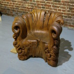 Graceful Wooden Chair Hand-Carved from a Single Tree Stump