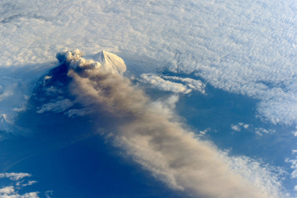 Astronauts aboard the International Space Station (ISS) photographed this striking view of Pavlof Volcano on May 18, 2013