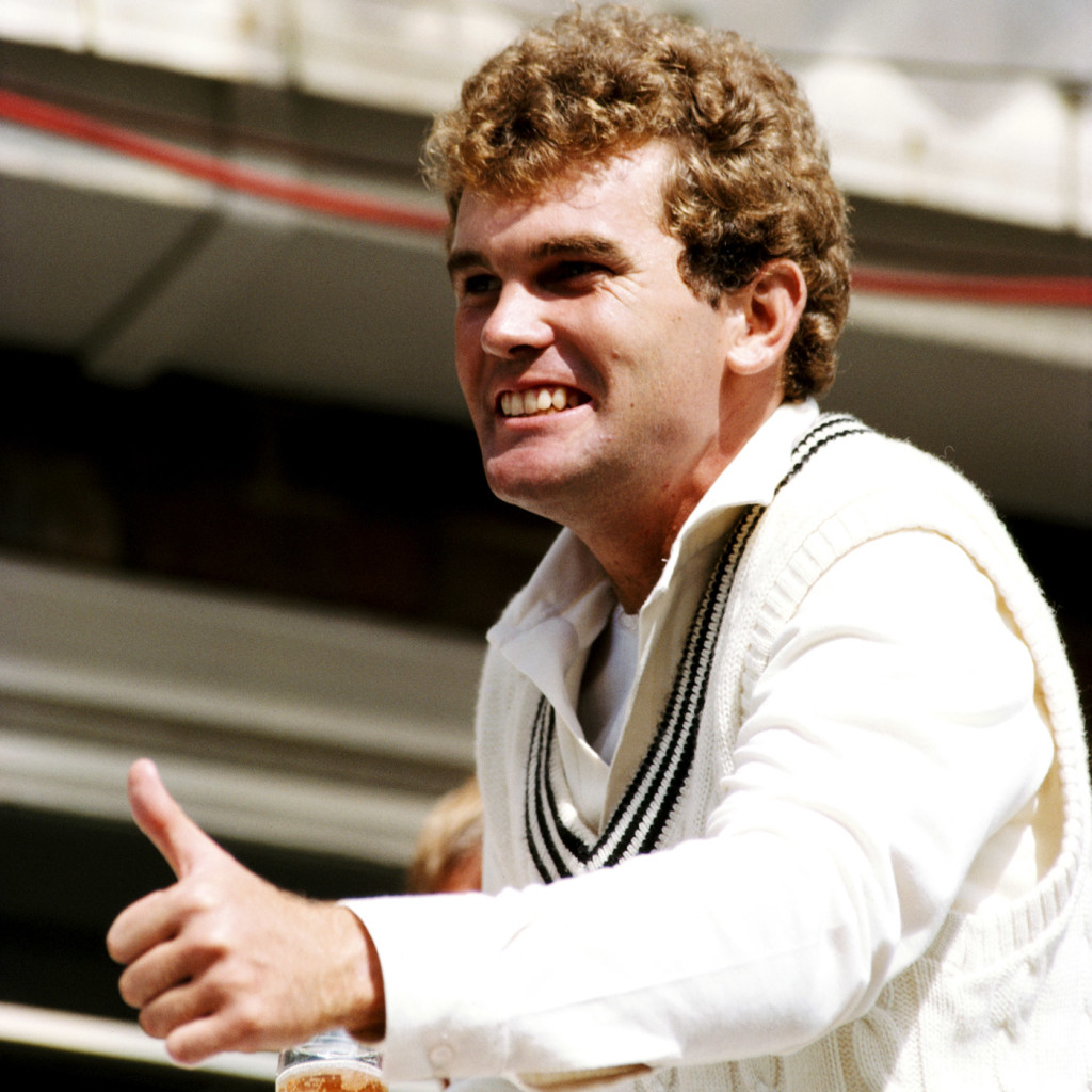 Martin Crowe celebrates their first Test win in England, England v New Zealand, 2nd Test, Leeds, August 1, 1983
