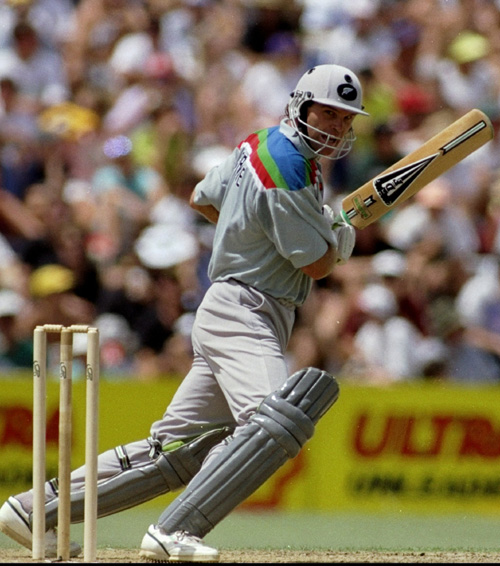 Martin Crowe strokes one to the fence, New Zealand v Australia, February 1992