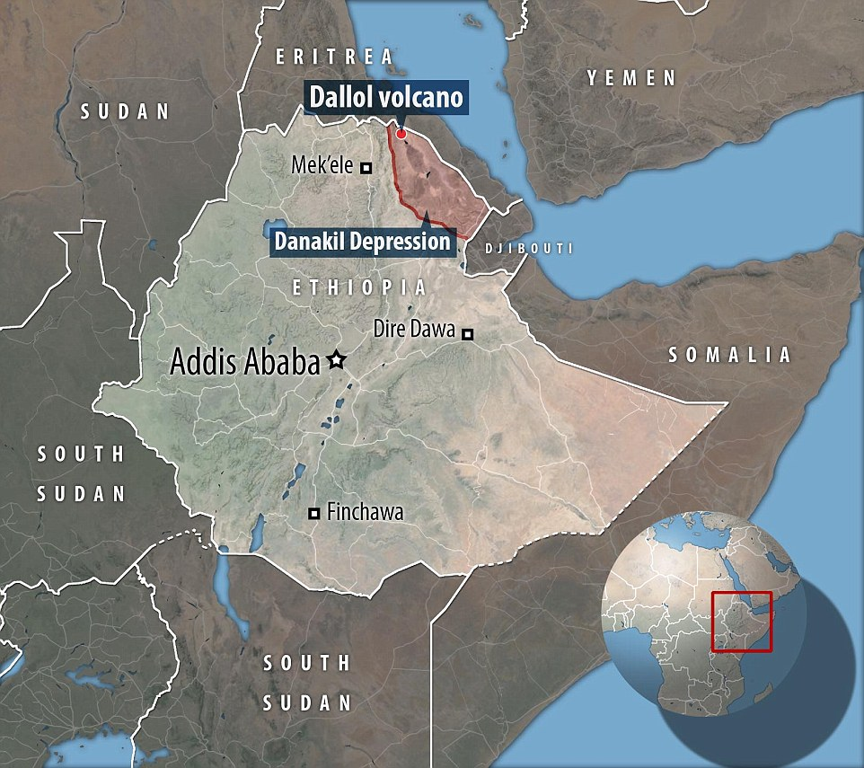 This map shows Dallol's location in north-east Ethiopia - an area known for its extreme environment