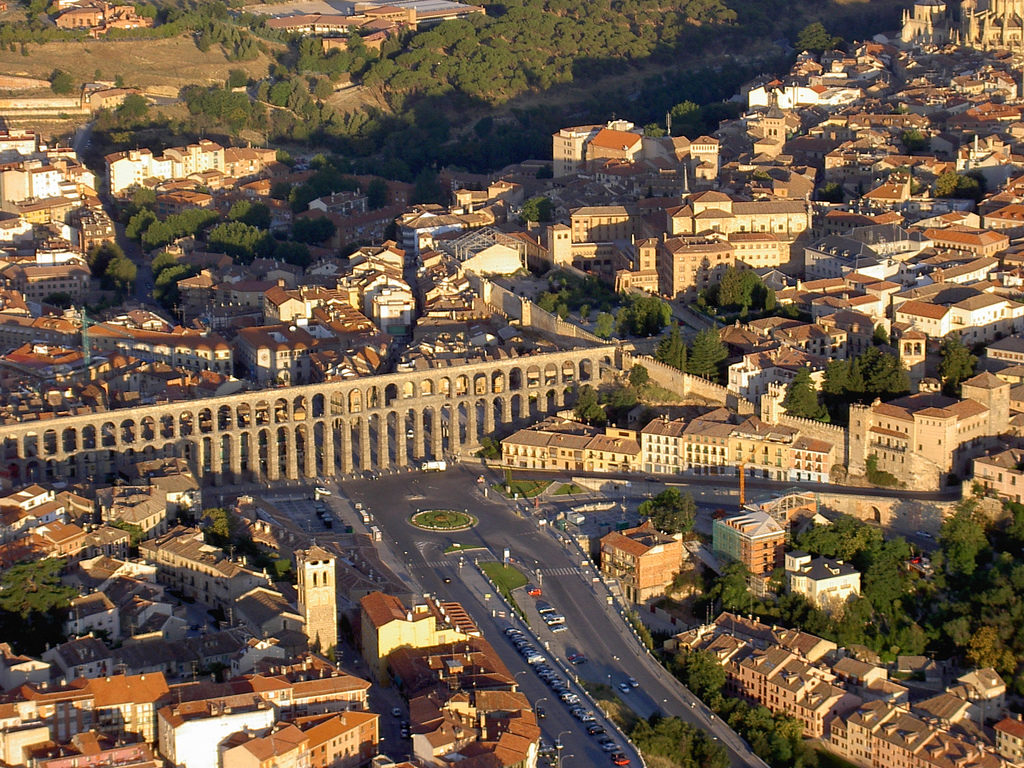 Aqueduct of Segovia (Spain), as seen from the air.
