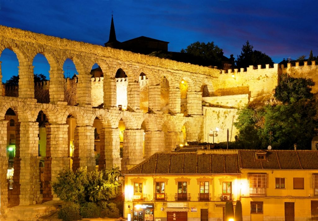 The Aqueduct of Segovia structure stands 28.5 meters tall at its maximum height and nearly 6 additional meters deep in the main section.