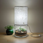 Unique Sleek Glass-Bottomed Lighting Feature Handmade Paper Lampshade