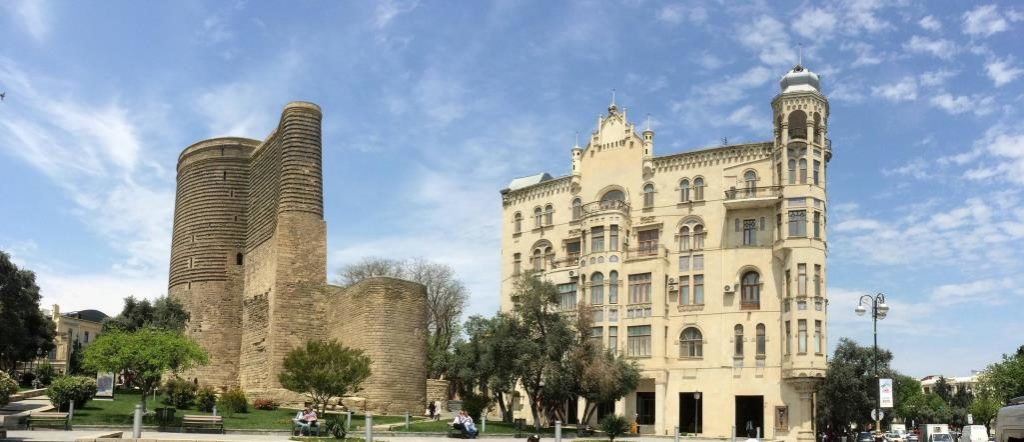 "The Maiden Tower, also called ""Giz Galasi"" is located in the old city of Baku in Azerbaijan."