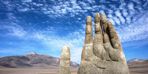 """Mano del Desierto"" is a symbol of the contrasting ideas which shows how small, helpless and stranded humans are."