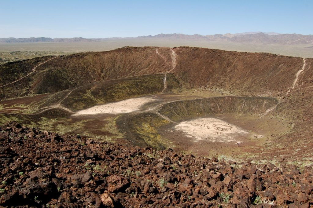 The crater interior has Lava Lake, which flows as old as Amboy Crater.