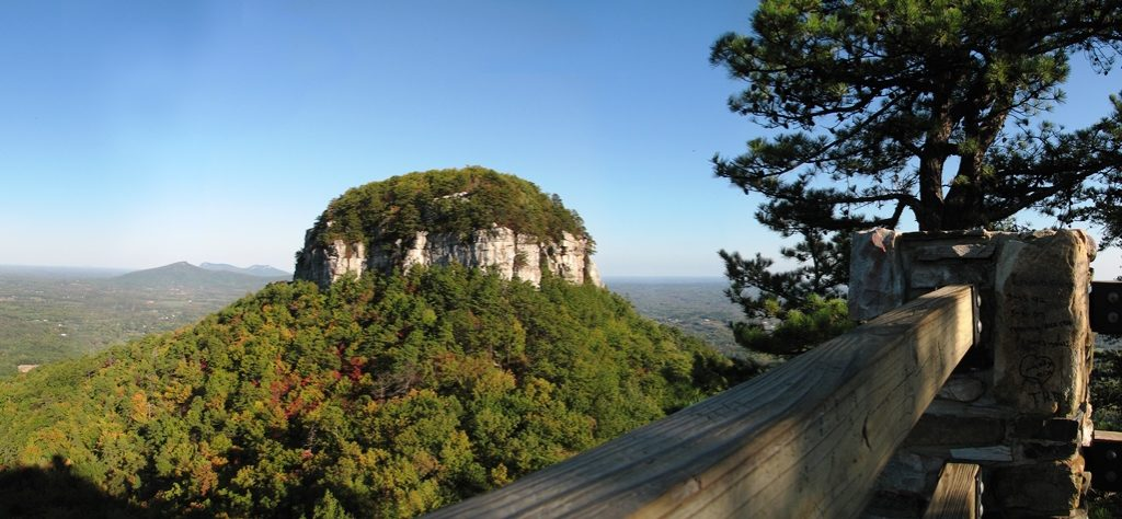 The Pilot Mountain dominates the surrounding Piedmont and can be seen from many landmarks is popular and is overcrowded during the summer months.