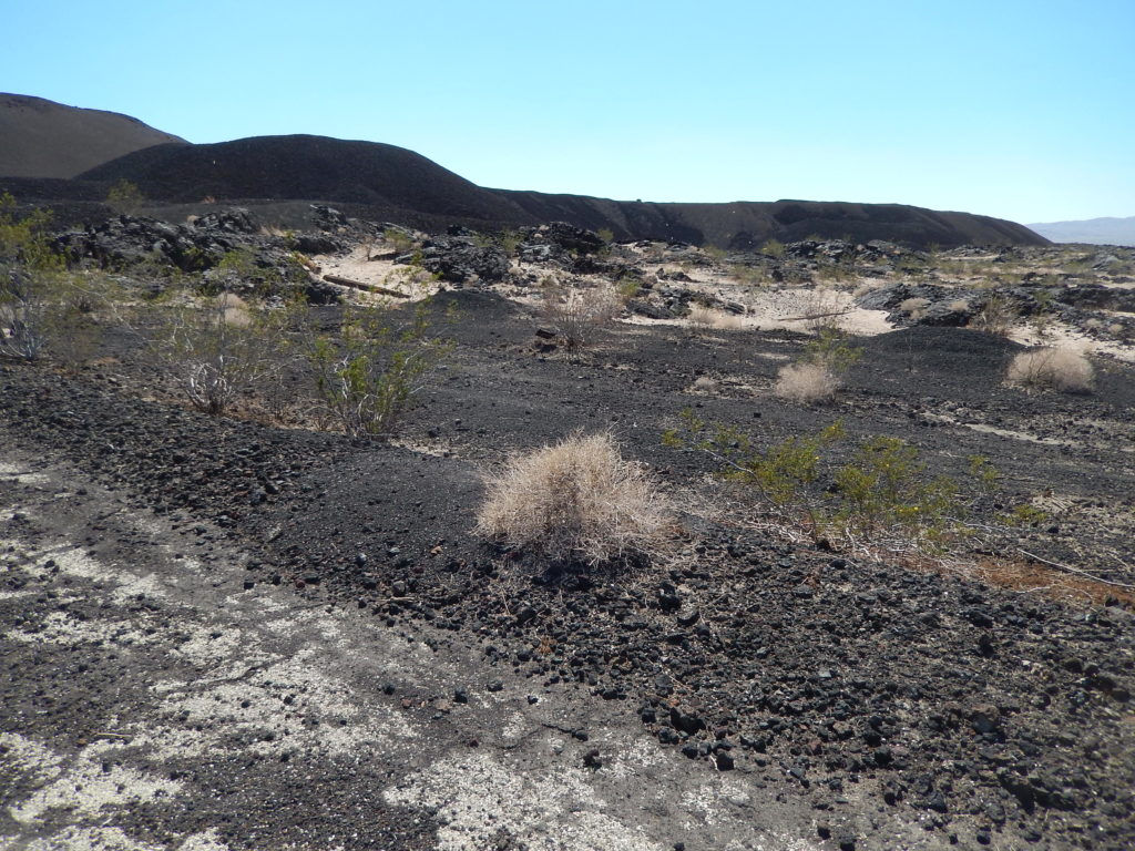 The lava found around the volcano consists of a'a and pahoehoe, with considerable concentrations of olivine, plagioclase and rich amounts of gypsum can be found coating rocks near the cinder cone.