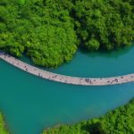Floating Walkway in The Middle of River in China