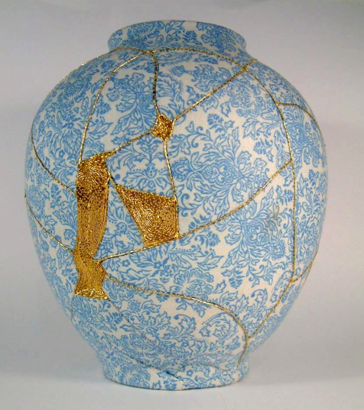 Artist Charlotte Bailey constructs her patchwork vases by sewing fragmented porcelain back together.