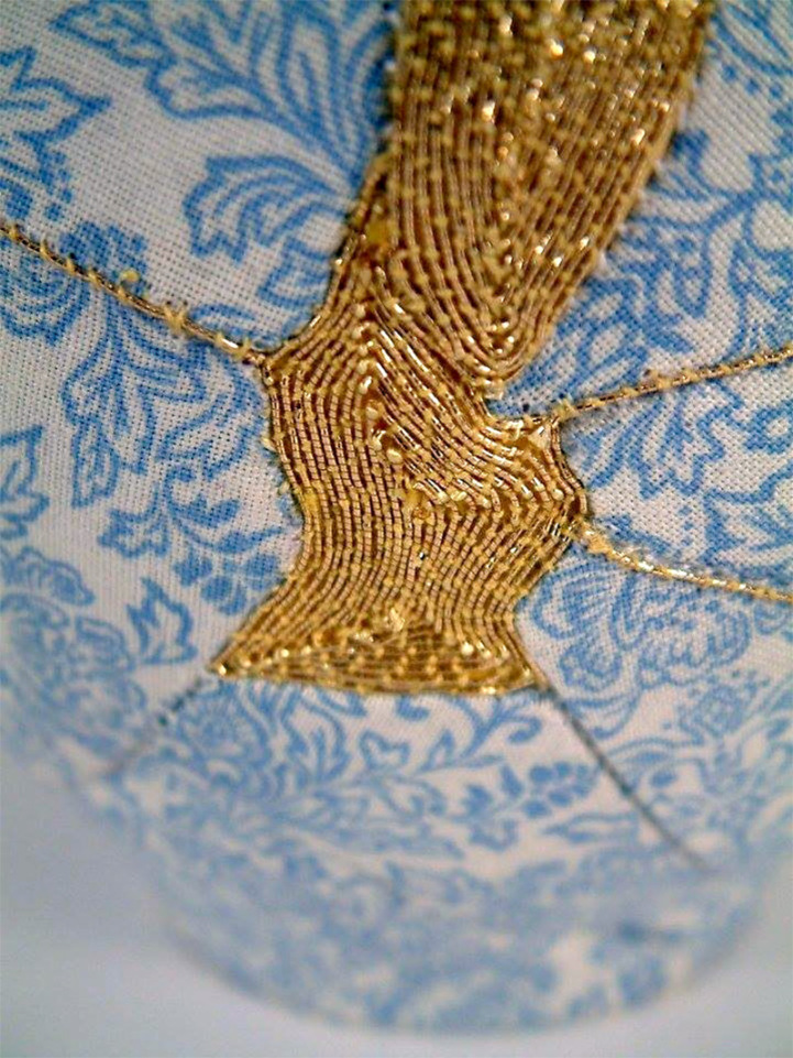 Brighton based embroidery artist has used patterned fabric and metallic thread, and her creations put an astounding new spin on the ancient Japanese custom of kintsugi.