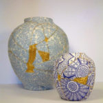 Broken Vases Stitched by Sewing with Gold Thread