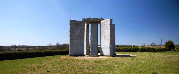 The monument stands 45 miles from Athens, and 9 miles north of the center of Elberton.