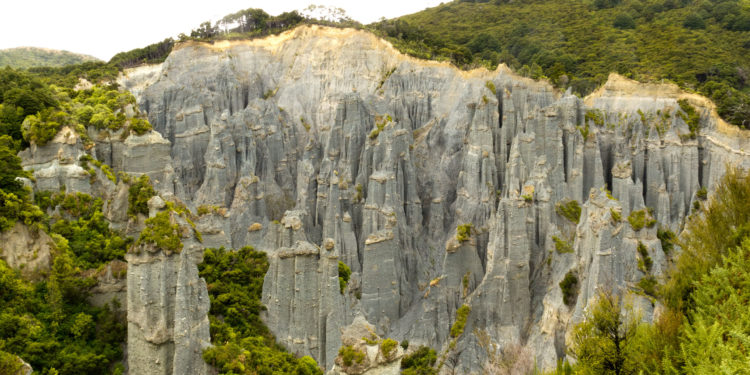 Earth pillars or hoodoos located at the head of a valley in the Aorangi Ranges in Wairarapa region in New Zealand.