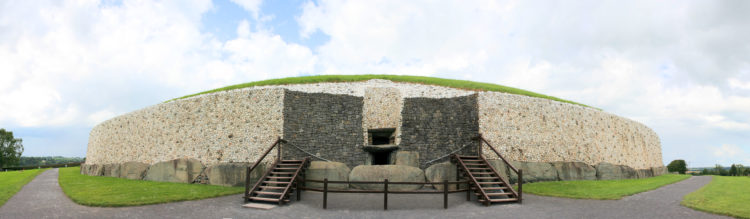 The Newgrange is a large circular mound with a stone passageway and interior chambers.