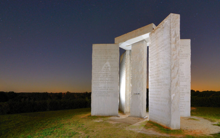 the Georgia Guidestones is a granite monument erected in 1980 in Georgia, the highest point in Elbert County, approximately 90 miles east of Atlanta United States.