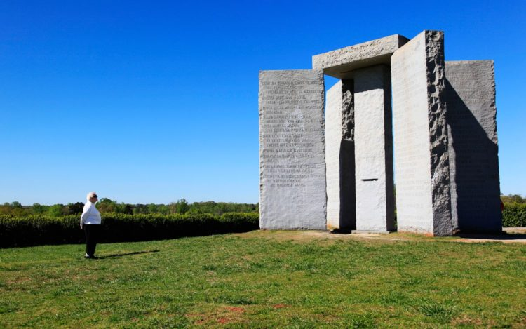 """One activist demanded that the Guidestones """"be smashed into a million pieces, and then the rubble used for a construction project"""", claiming that the Guidestones are of """"a deep Satanic origin"""", and that R. C. Christian belongs to """"a Luciferian secret society"""" associated to the """"New World Order""""."""