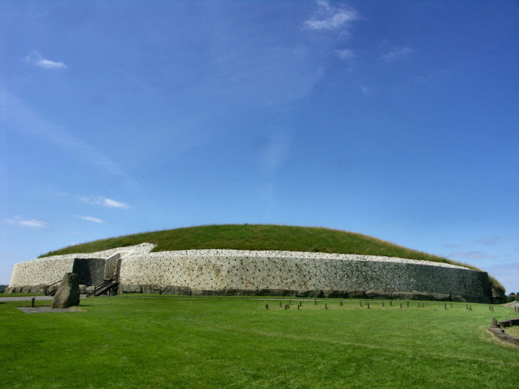 The Newgrange is actually a man-made mound 85 metres in diameter and 13.5 metres high, along with a 19 meter passage which leads to a chamber with 3 alcoves.
