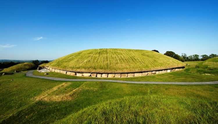 """The kidney shaped mound is ringed by """"Kerbstones"""" engraved with artwork, and covered an area of more than one acre."""