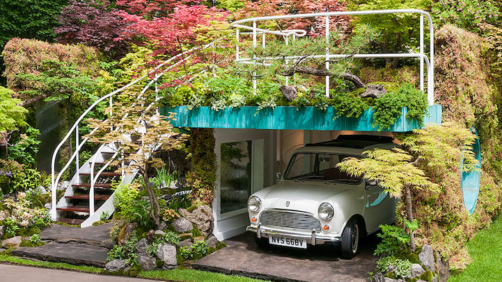 The artist Kazuyuki Ishihara built an eye-catching garden with a vintage car parked in during the Chelsea Flower Show in London.