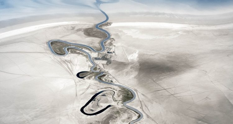 British pilot Jon Bowles snapped this image of a winding river and land that was once under Lake Urmia, in northwestern Iran