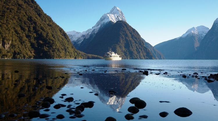 Mitre Peak is located close to the shore of Milford Sound, in the Fiordland National Park in the southwestern South Island.